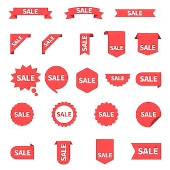 Sale label collection set. sale tags. discount red ribbons, banners and icons. shopping tags. sale icons. red isolated on white ,  .