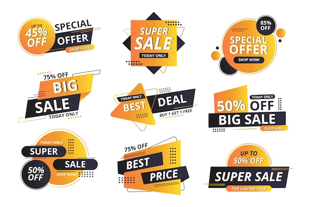 Sale label collection with discount