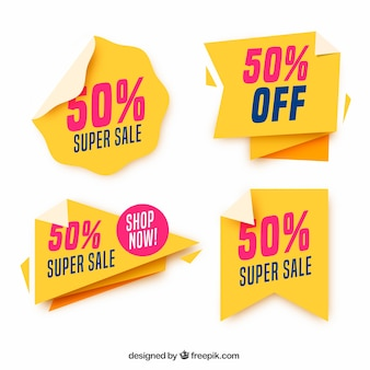 Sale label collection with flat design
