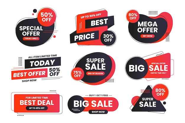 Sale label set with discount