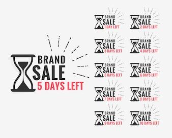 Sale label showing number of days left