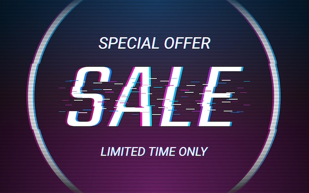 Sale label text in glitch and neon light color effect