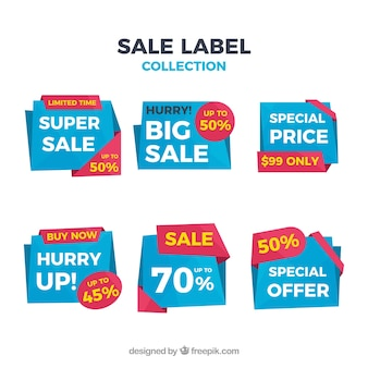 Sale label with flat design