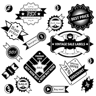Sale labels and badges black