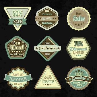 Sale labels and badges design set for best price high quality and exclusive deal isolated