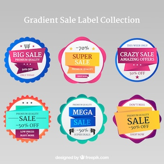 Sale labels collection in different colors