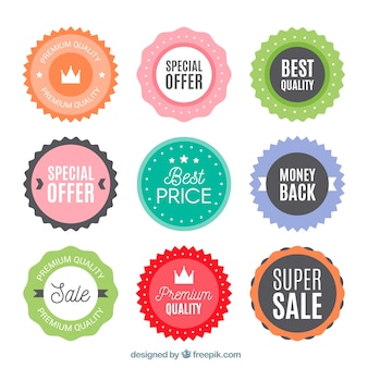 Sale labels collection in flat style