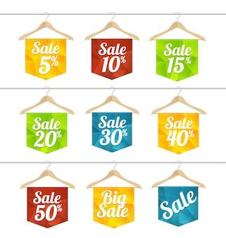 ハンガーセットの販売ラベル。値下げ、割引のコンセプト