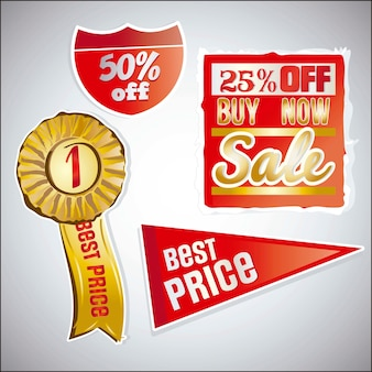 Sale labels red and golden
