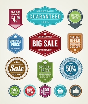 Sale labels and ribbons set design elements premium quality badges vector illustration. Premium Vector