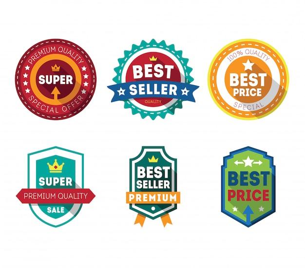 Sale labels and ribbons set design elements