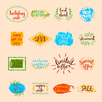 Sale labels set of different promotional advertising signs and elements in retro style