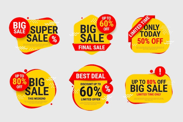Sale labels set with discount