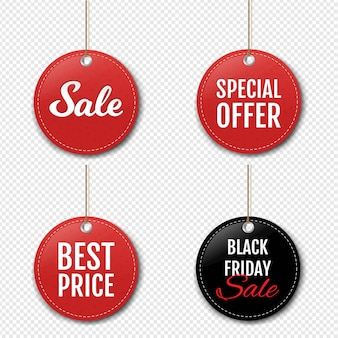 Sale labels set with isolated on transparent