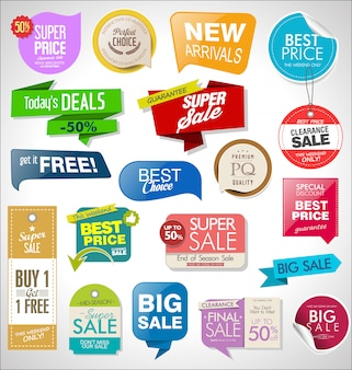 Sale labels, tags, ribbons and badges set