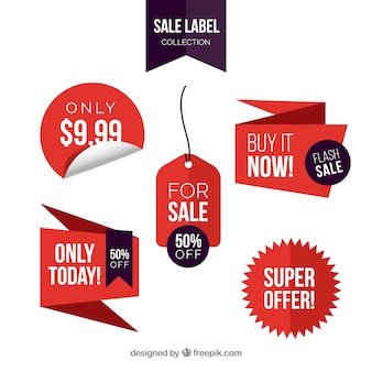 Sale labels with flat design Free Vector