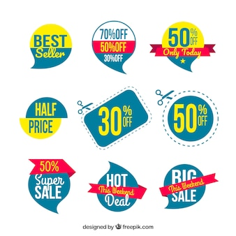 Sale labels with flat design