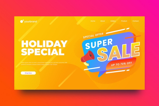 Sale landing page abstract background