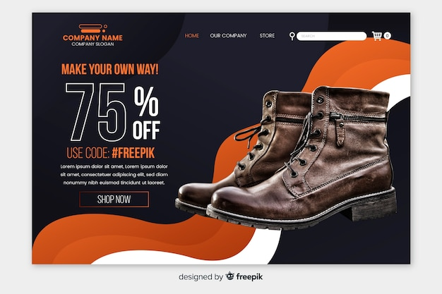 Sale landing page template with photo