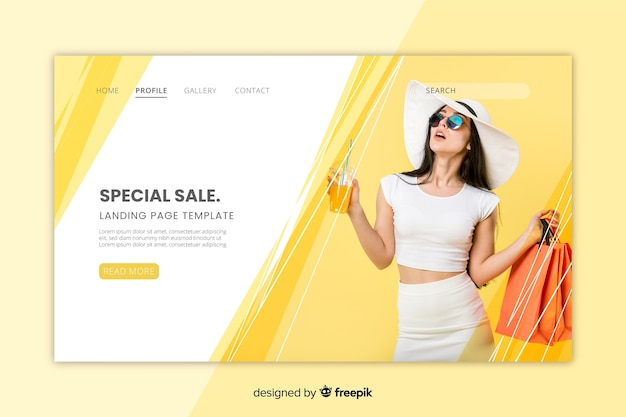 Sale landing page with photo