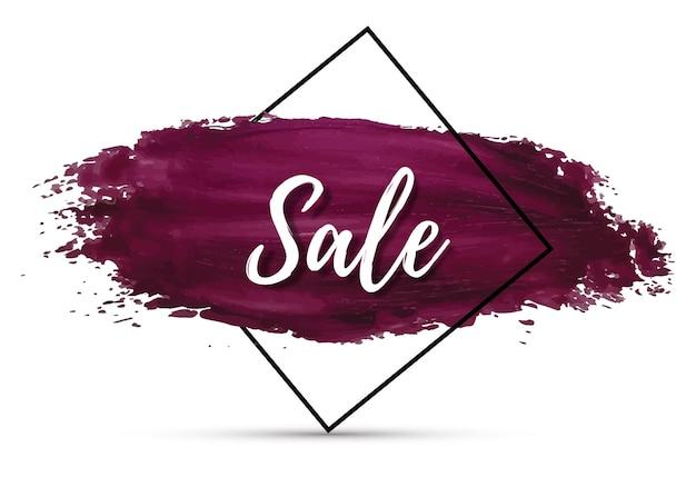 Распродажа макет фон для продвижения бизнеса и рекламы шаблон для покупок скидка купон брошюра распродажа баннер флаер плакат рекламный баннер с фиолетовым мазком кисти эффект вектор