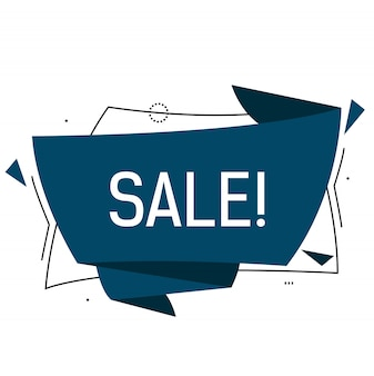 Sale lettering in blue origami speech bubble with triangles.