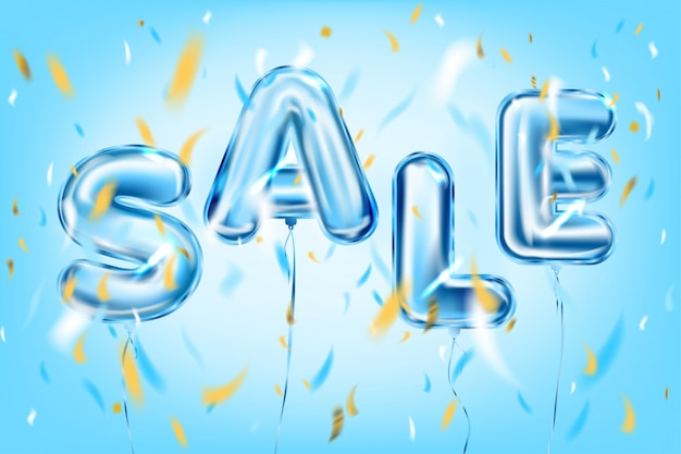 Sale lettering by blue metallic foil balloons in air