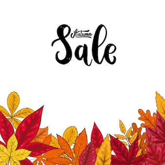 Sale. lettering phrase on background with autumn leaves.