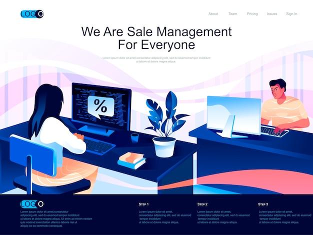フラットな文字の状況での販売管理アイソメトリックランディングページ