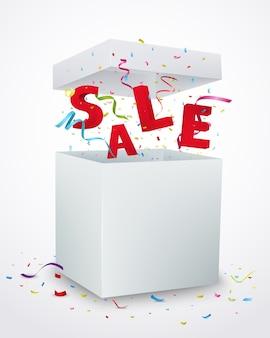 Sale message box with colorful confetti