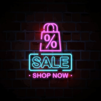 Sale neon style sign illustration