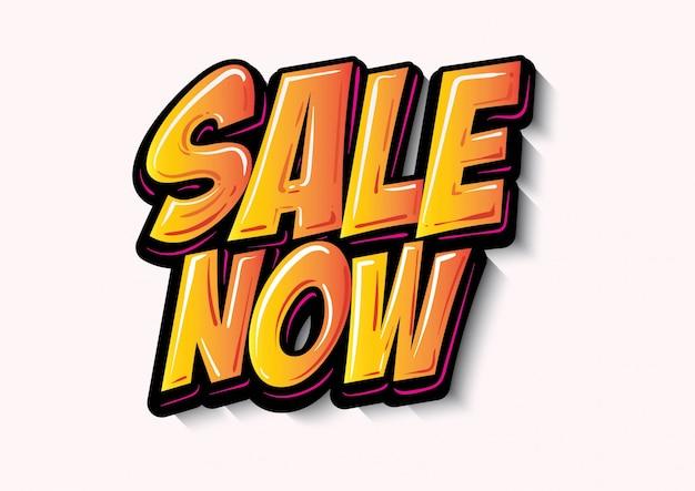 Sale now label lettering gradient style vector