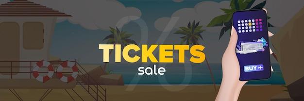 Продажа билетов баннер. песчаный пляж с пальмами.