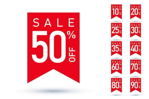Распродажа билет со скидкой на этикетку ценник установлен красный дизайн. значок стикера продвижения знак для интернет-магазина, розничного предложения, купона запаса магазина различного значения распродажи векторные иллюстрации, изолированные на белом