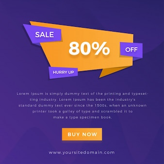 Sale offer banner with multicolor gradient background