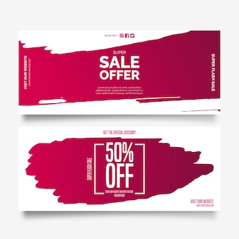 Sale offer banners with paint splashes