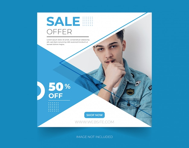 Sale offer discount social media post template design