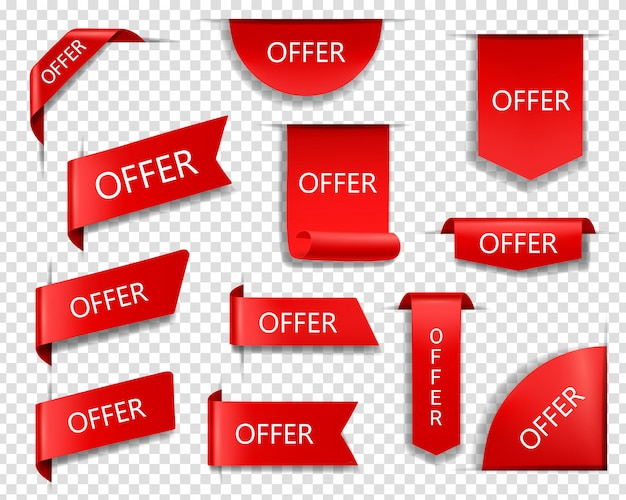 Sale offer red vector banners, ribbons and labels