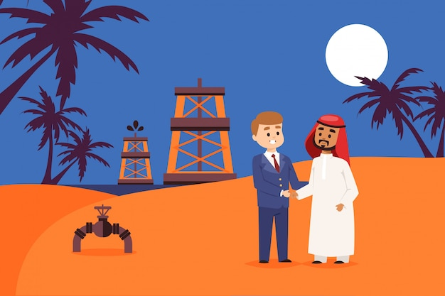 Sale oil production place in east shore,  illustration. businessman character conclude agreement with arab entrepreneur
