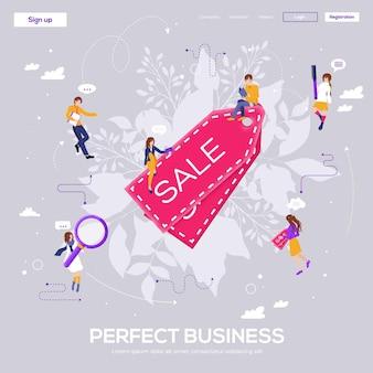 판매, 완벽한 비즈니스 방문 페이지.