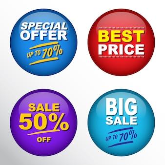 Sale pin badge set