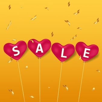 Sale in pink heart balloons