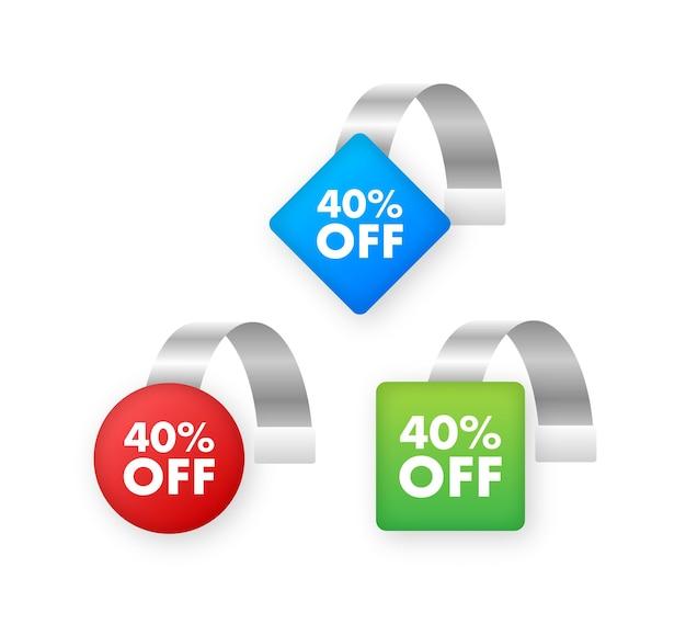 Набор тегов пункта продажи с 40-процентной скидкой на цветную прозрачную круглую этикетку воблера для полки супермаркета