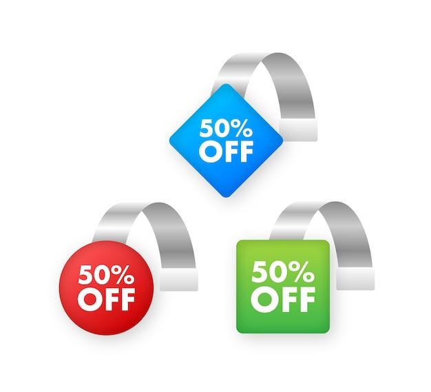 Набор тегов пункта продажи с 50-процентной скидкой на цветную прозрачную круглую этикетку воблера для полки супермаркета