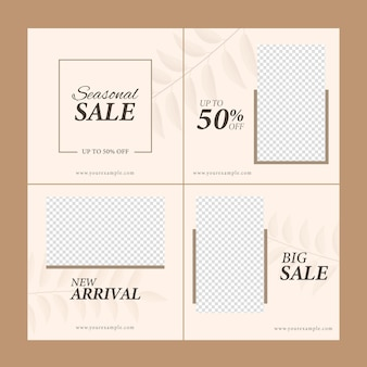 Sale post or template design with 50% discount offer and copy space in four options.