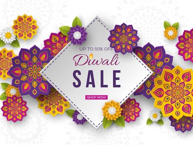 Sale poster or banner for festival of lights - diwali. paper cut style of indian rangoli. white background. vector illustration.