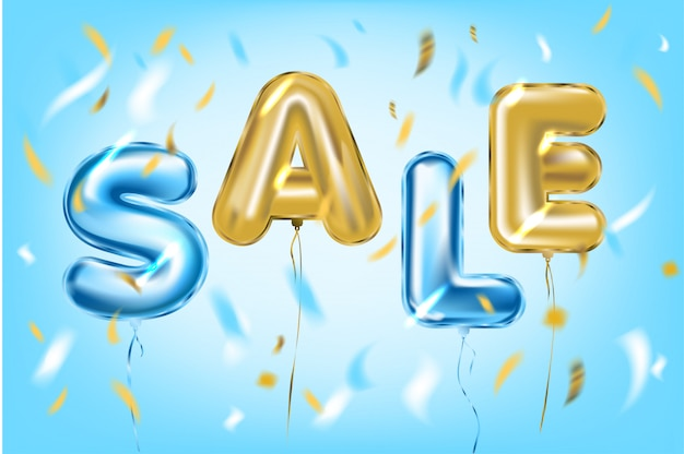 Sale poster by metallic foil ballons in air