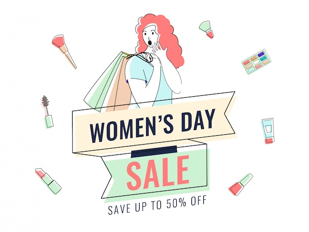 Sale poster design with 50% discount offer, cosmetic items, socking young girl and shopping bag for women's day.