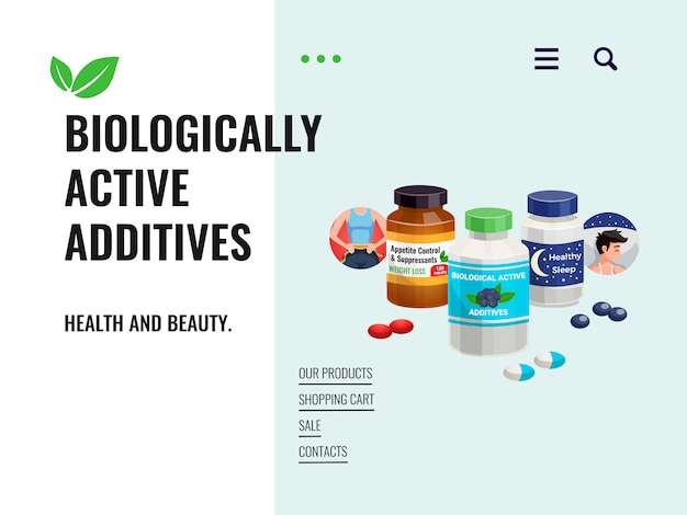 Sale poster representing biologically active additives with natural ingredients and ecology clean components cartoon illustration