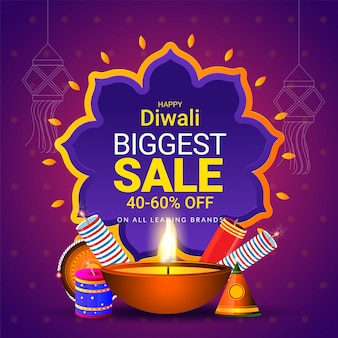 Sale poster or template for diwali festival concept.